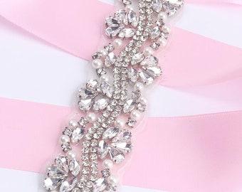 Rhinestone Crystal Beaded Lace trim Rhinestone Applique Bridal Accessories  Wedding Dress Sash bridal Belt Headband Straps H0107 3842766bb699