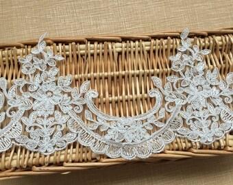 "Ivory Floral Lace Trim Alencone Lace Embroidery Wedding Veil Lace Trim 4.92""  Wide 1 Yard S0228"