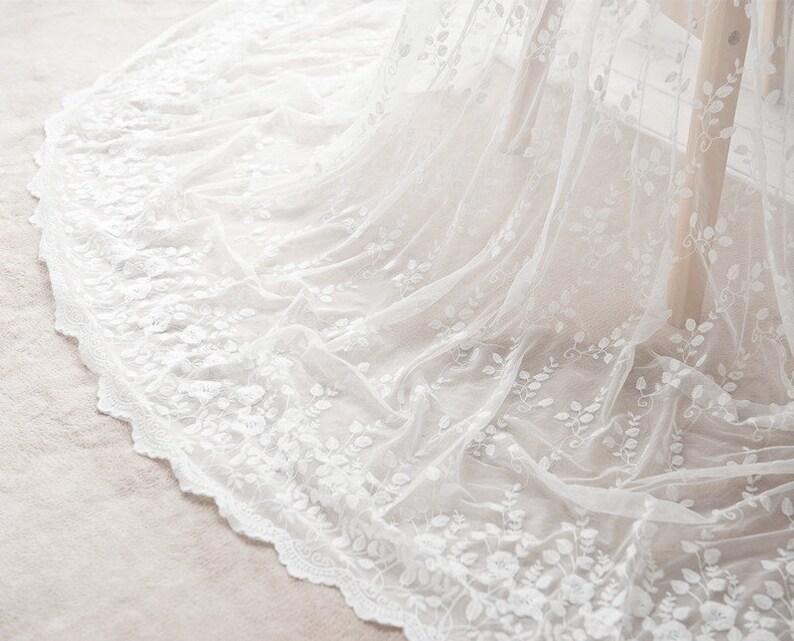 Biały Tkaniny Koronki Kwiatowe Dwustronne Bawełna Haftowane Tkanina Tiul Suknia ślubna Kostium Tkaniny Firanki 55 Szeroki 1 Stoczni K071