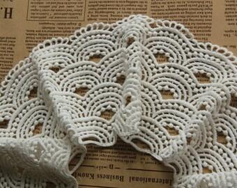 White Venice Wave Lace Trim  Embroidery Cotton Lace Trim Accessory 3.93 Inch Wide 1 Yard  L048