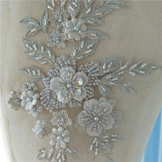 3D beaded lace applique Embroidery Collar Dress costumes Wedding Bodice Bridal Veil Accessories S0627