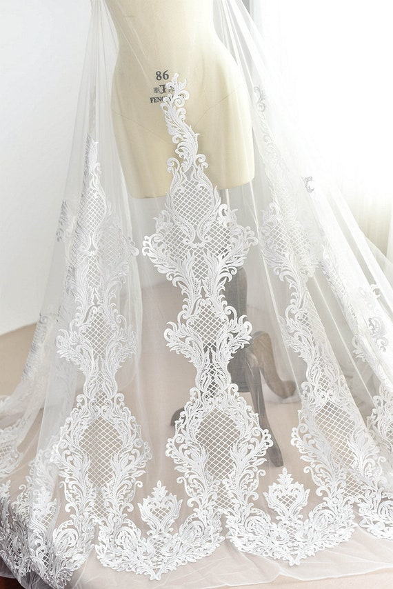 Ivory Floral Lace Fabric Thick Embroidered Lace Veil Gauze wedding Dress Garment accessories 49