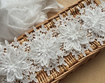 """Ivory Floral Lace Trim Embroidery 3D Flower Lace Trim 4.92""""  Wide 1 Yard S0210"""