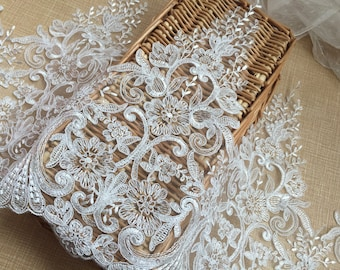 """Ivory Floral Lace Trim Retro Embroidery Wedding Lace Trim 12.99""""  Wide 1 Yard S0218"""