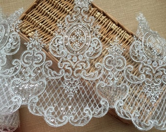 """Ivory Floral Lace Trim Retro Embroidery Sequins Wedding Lace Trim 9.84""""  Wide 1 Yard S0223"""