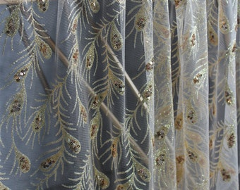 Golden Peacock feathers Lace Fabric With Sequins Embroidery Tulle Fabric Fashion Costume Lace 62'' Wide 1 yard S0831