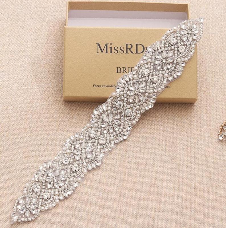 5310dd5c16 Crystal Pearl Rhinestone Beaded Applique For Bridal Headband Crystal Trim  Bridal Accessories Wedding Dress Sash Belt Headband H092