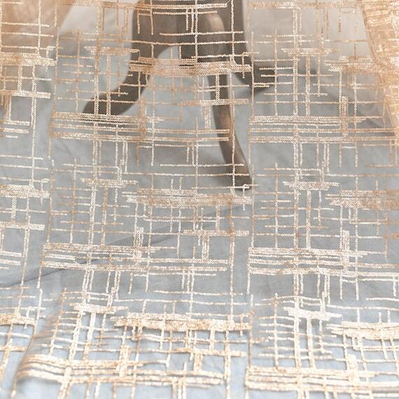 Brodé de Paillettes or en tissu à rayures dentelle robe avec des paillettes Tulle robe dentelle de mariée voile de mariée dentelle Rideau tissu 51'' large 1 Yard S0618 755249