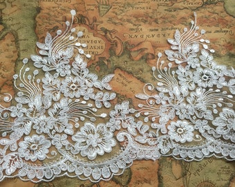 """Ivory Floral Lace Trim Retro Embroidery Wedding Lace Trim 7.87""""  Wide 1 Yard S0222"""