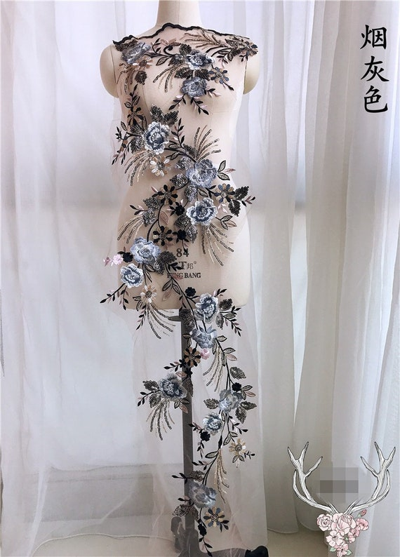 31904738a9aec Smoke Gray Vivid Floral Sequins Bridal Gown Lace Applique Embroidery  Patches Trim Collar Wedding Bodice Veil prom dress Accessories S0852