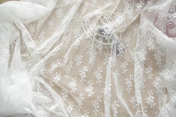 Fleur blanche en dentelle tissu tissu dentelle brodé Tulle robe de mariée voile de mariée dentelle Rideau tissu 59'' large 1 Yard L0470 2ba8c0