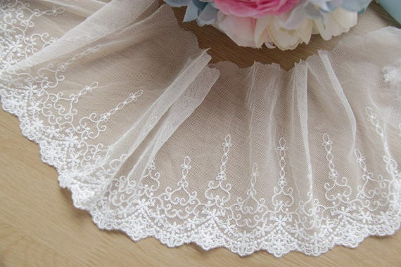 5 Row Layer Black Lace Trim Elastic Trims Bubble Skirt Ruffled Accessory 6.69