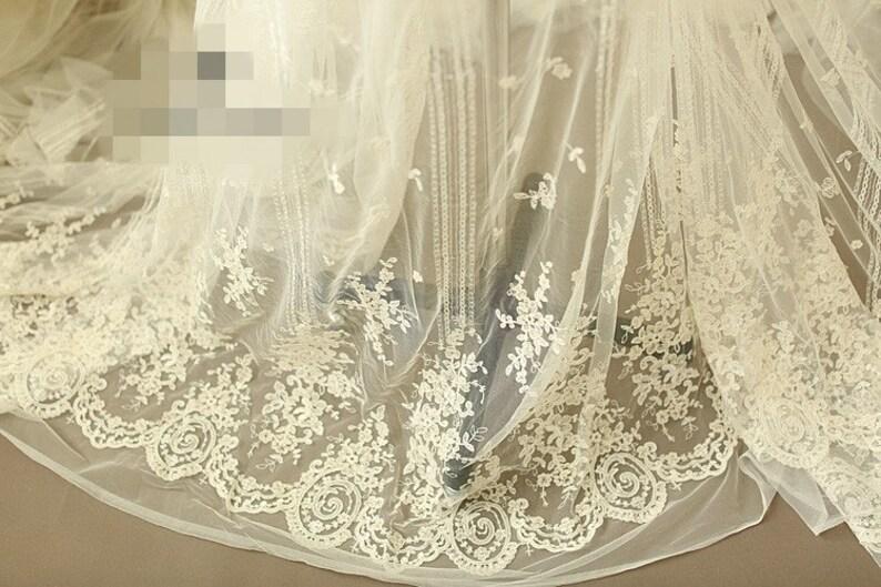 7ddbc12814 Alencon marfil y champán tela Retro tela visillo bordado tela