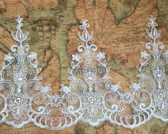 """Ivory Floral Lace Trim Retro Embroidery Wedding Lace Trim 10.23""""  Wide 1 Yard S0220"""