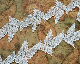 "Ivory Leaf Lace Trim Embroidery Wedding Veil Lace Trim 4""  Wide 2 Yards S0243"
