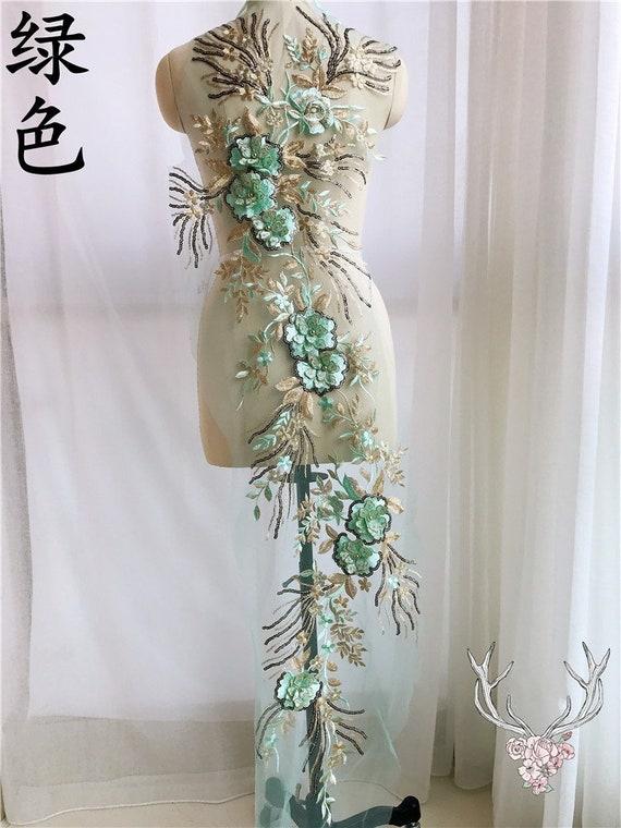 3D Ivoire perlé Floral Appliques avec des paillettes Appliques Floral mariage délicat galon broderie Tulle dentelle corsage voile accessoires S0793 de mariage fd1017