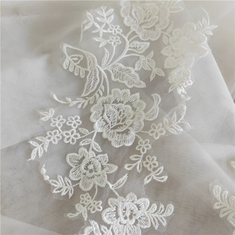 Ivory Lace Applique blossom Embroidery Patches Trim Collar Wedding gown Bodice dance show costumes ballet dress H0480