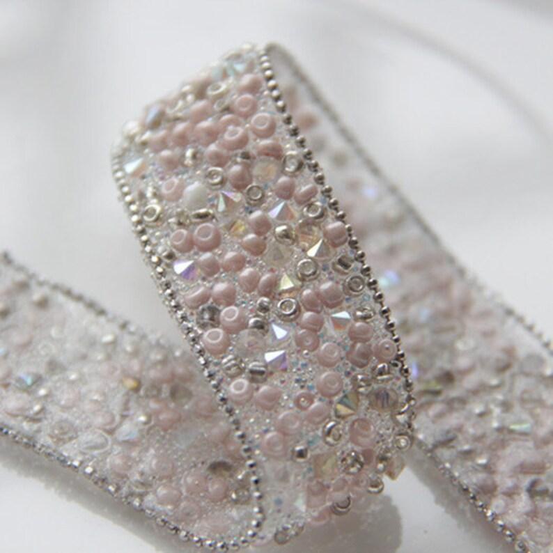 Pink Rhinestone Beaded Applique Rhinestone Applique Crystal Trim Bridal  Accessories Wedding Dress Sash Belt Headband 1 Yard 930e9da6509a