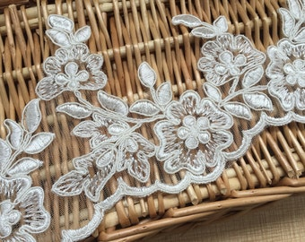 "Ivory Floral Lace Trim Alencone Lace Embroidery Wedding Veil Lace Trim 4.52""  Wide 1 Yard S0235"