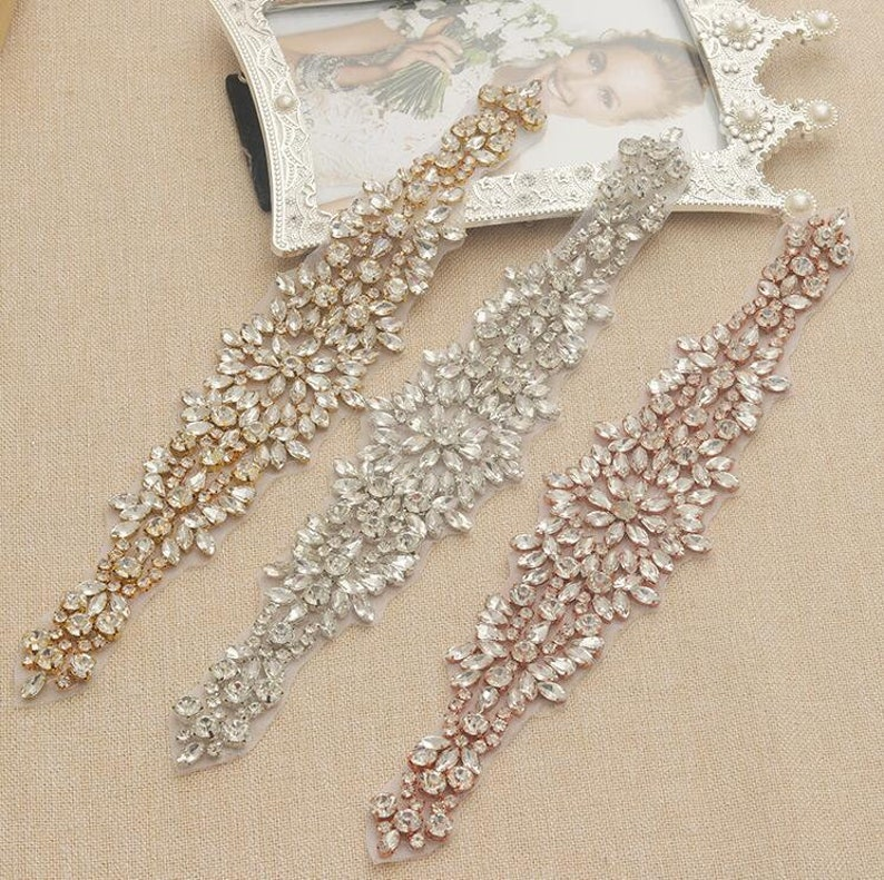 Crystal Pearl Rhinestone Beaded Applique For Bridal Headband  e7a5c59fe895