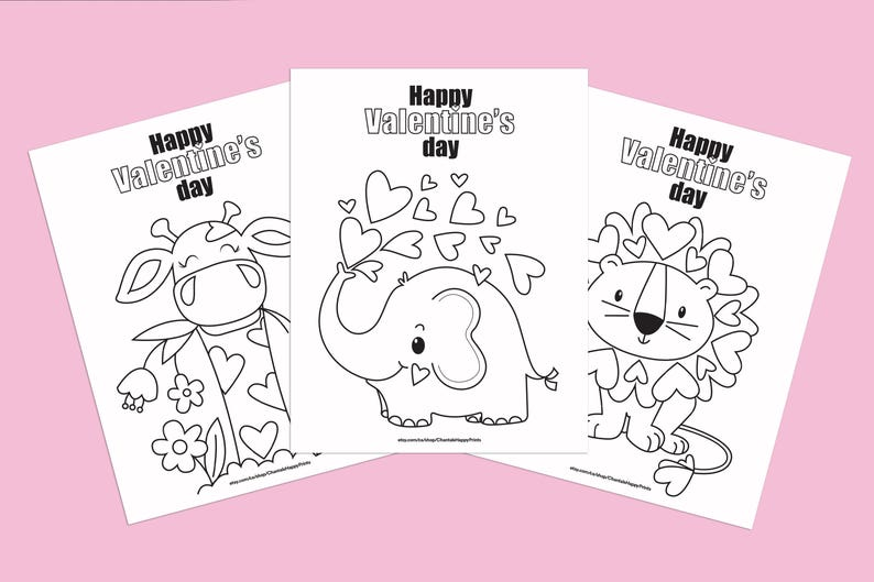 Cute Valentine Colouring Pages For Kids Complete Set Of 3 Etsy