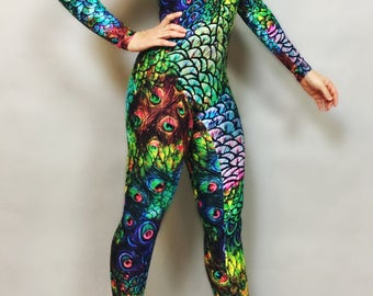01185e08a0df72 Rainbow Peacock Catsuit, bodysuit, costume,activewear.