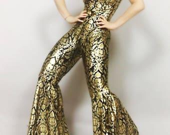 Glamorous Gold/black shiny catsuit! Bellbotom pants hippie festival costume!