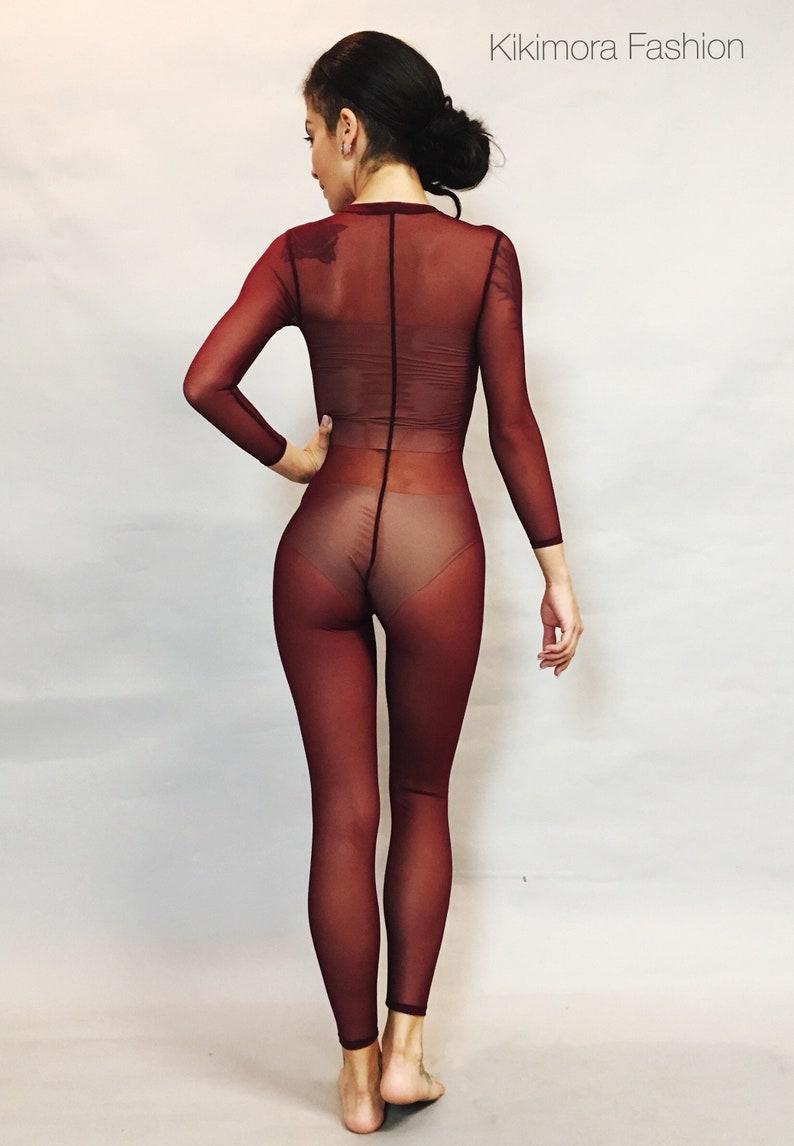 0e7a58e9f Dark Chery Mesh Catsuit. Bodysuit costume for dancers circus