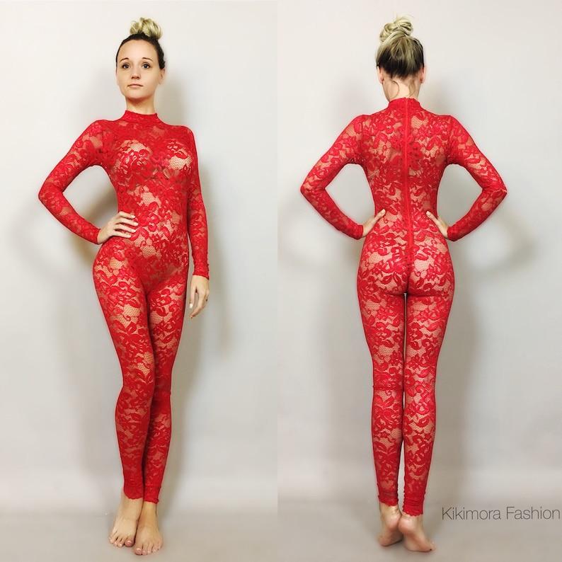 663155c4e9 Lipstick red Lace catsuit bodysuit unitard jumpsuit dance