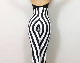 Stripe Circus! bodysuit costume // high waist i// jumpsuit // dancer // performer outfit // leotard // gym // yoga // Lycra// open back.