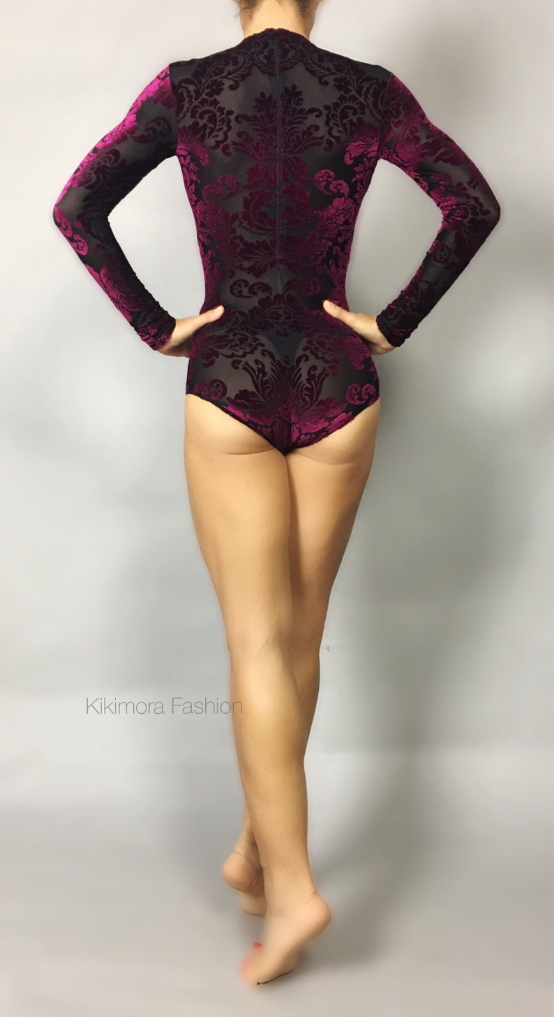 442042ad6c8f Magenta crashed Velvet mesh. Bodysuit/leotard/costume for | Etsy