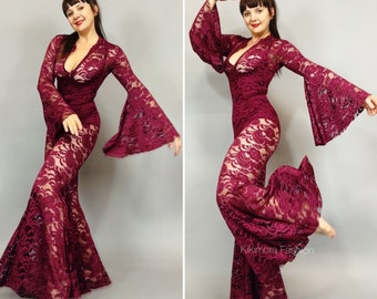 Sheer Jumpsuit, Cher Costume, Beautiful Lace costume, Festival outfit, Trending now.
