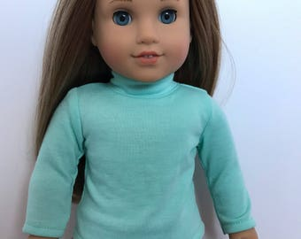 Light blue turtle neck sweater for american girl dolls