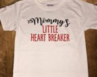 Mommy's little heart breaker youth boy shirt