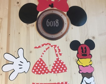 Minnie Mouse with ice cream stateroom cruise door laminated magnet set