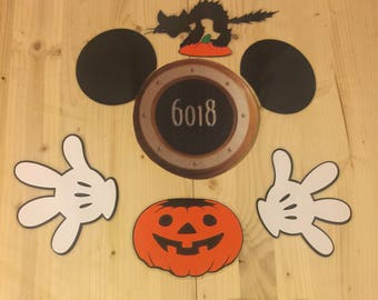 halloween pumpkin Mickey Mouse laminated cruise stateroom door magnet  set
