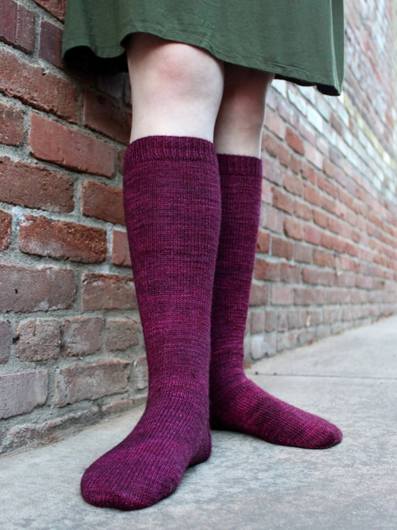 Simple Knitted Knee High Socks A Knitting Pattern Etsy