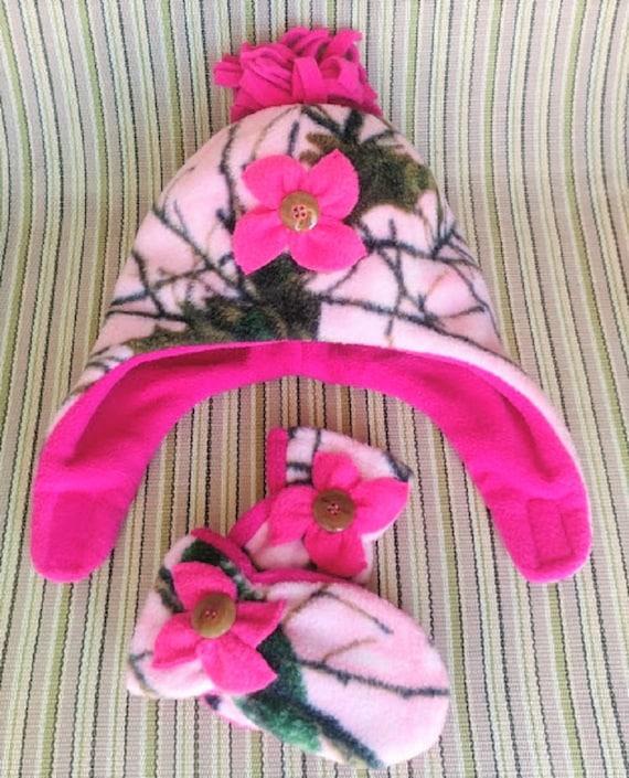 032a29006f5 Toddler Camo Fleece Hat Baby Girls Winter Hats Girls Chin