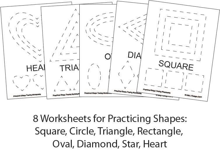 Preschool Shape-Tracing Worksheet PDF Printables