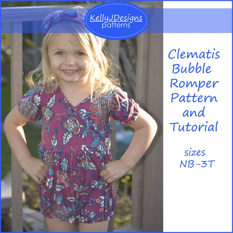 3b58ca8169c Clematis Bubble Romper Pattern and Tutorial Sewing PDF Pattern
