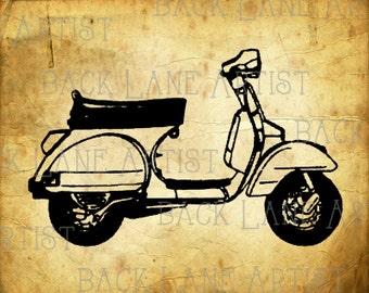 713101d2823886 Vintage Motorcycle Scooter Clipart Lineart Illustration Instant Download  PNG JPG Digi Line Art Image Drawing L306