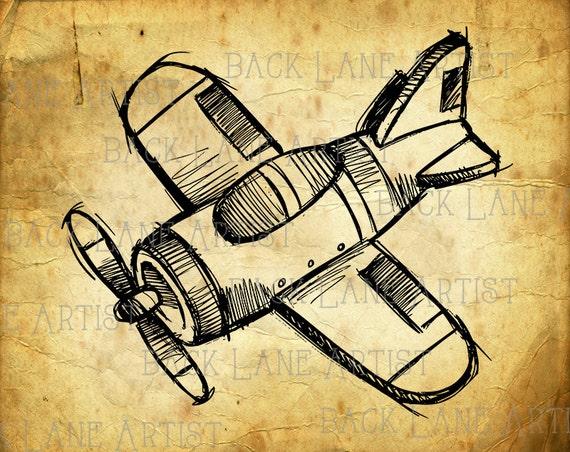 Doppeldecker Flugzeug Hand Zeichnung Clipart Ausmalbild Etsy