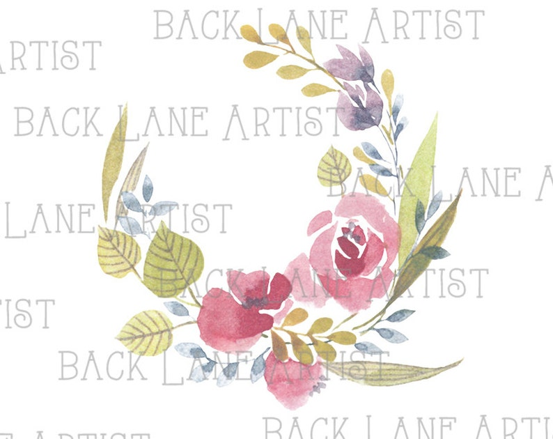 Floral Wreath Flowers Frame Wedding invitation Watercolor Drawing Clipart Illustration Instant Download PNG JPG DigiArt Image Drawing Ld80