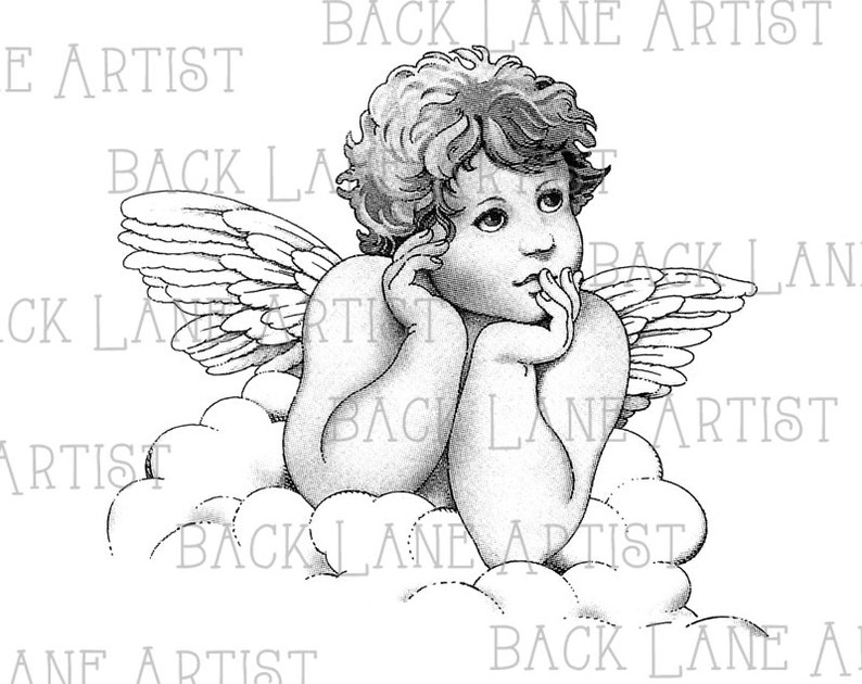 Vintage Baby Angel Clipart Lineart Illustration Instant