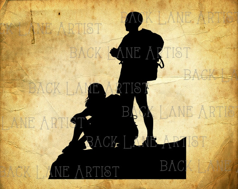 Couple Travelling Traveler Backpacker Outdoor Silhouette image 0