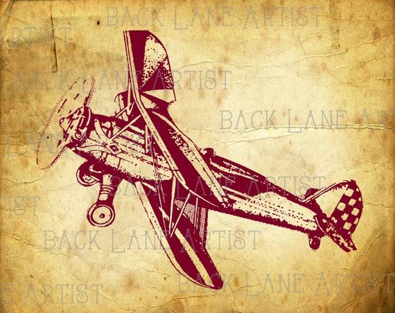 Jahrgang Doppeldecker Flugzeug Clipart Ausmalbild Illustration Etsy
