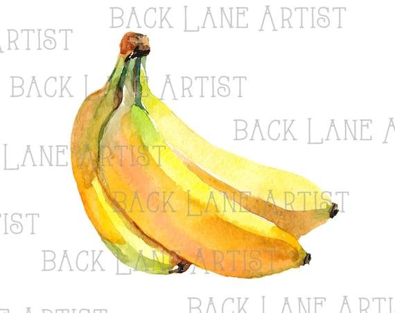 Früchte Banane Aquarellzeichnung Clipart Ausmalbild Illustration Sofortigen Download Png Jpg Digi Linie Kunst Bild Zeichnung Lb63