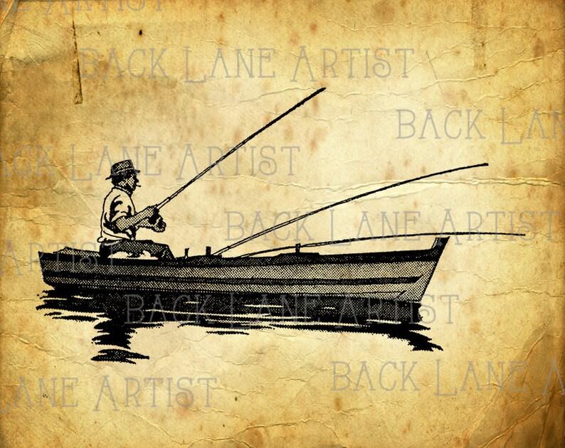 Gone Fishng Clipart Illustration Instant Download PNG JPG Digi image 0