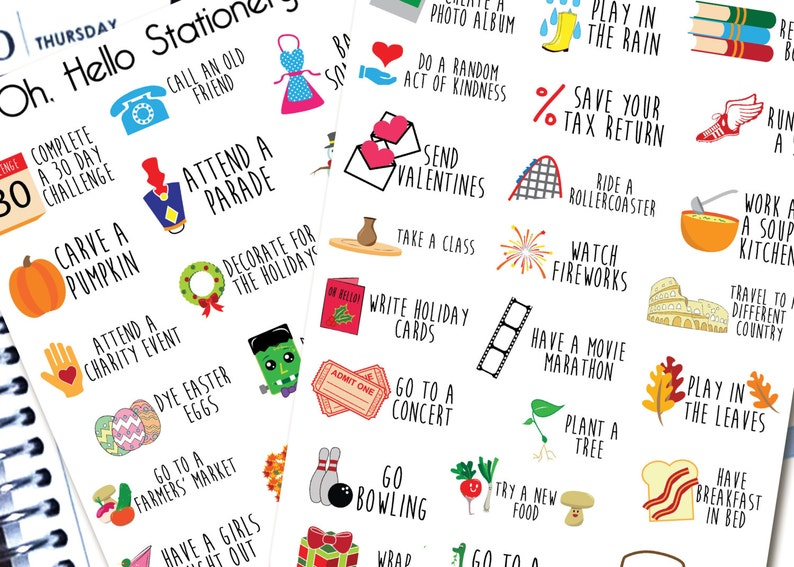 Yearly Bucket List   Planner Stickers for Erin Condren Life image 0