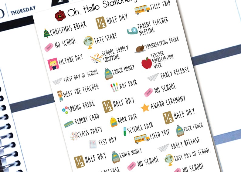 Planner Stickers Back to School Font Stickers  for Erin image 0